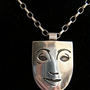 "Vintage silver or silvertone mime happy/sad necklace signed ""dab"""