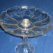 Heisey Crystal Tray on Tall Pedestal in Colonial Pattern