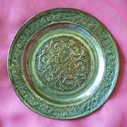 ,Old chased metal plate