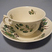Green & White Flowered Cup & Saucer