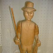 Vintage Balsa Wood Hand Carved Fisherman