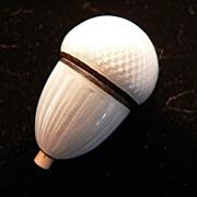 White Guilloche Enamel Acorn with Push Button
