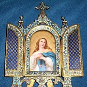 Victorian Enameled Bronze Frame With Hand Painted Portrait On Porcelain