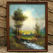 1800's Hudson Valley DeWitt Clinton Boutelle Oil/Pastel Painting