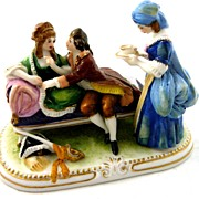 Victorian Couple and Servant Figurine