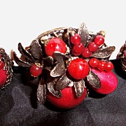 Miriam Haskell Red Brooch Pin & Earrings Signed Antiqued Silver
