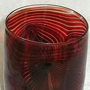 Cranberry Feathered Art Glass Vase?
