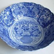 Imari Bowl - Blue and white panels with peonies