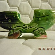 Vintage Pottery Small Ceramic Footed Pickle 5""