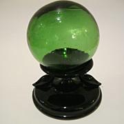 Black Depression Glass Holder wi Vintage Fish Float Ball