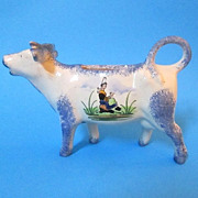 Vintage Desvres Quimper French Faience Hand Painted Cow Creamer