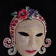 Vintage mask mesh brooch with enamel and multi colored rhinestones very unusual