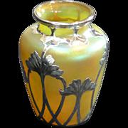 Czech Glass Vase with Art Nouveau Style, La Pierre Silver Overlay