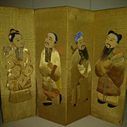 Chinese Four Panel Silk Table Top Screen