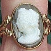SOLD Agate Cameo Ring, Victorian