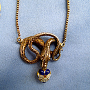 Snake Necklace with Pansy Heart,  Victorian