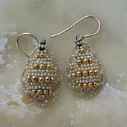 Seed Pearl and Gold Ball Earrings, Victorian