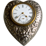 Silver Clock, Heart Shaped, Victorian