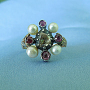 Victorian  Diamond, Ruby, and Imitation  Pearl Ring