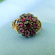Early Victorian Ruby Cluster Ring