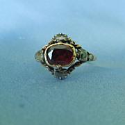 Flat Cut  Garnet and Rose cut diamond Ring, Georgian