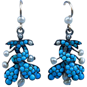Turquoise and Natural Pearl Earrings, Victorian