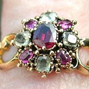 Ruby and Crysolite Cluster Ring,Victorian