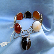 Scottish Bracelet, Silver and Agate, Victorian, Agate Padlock