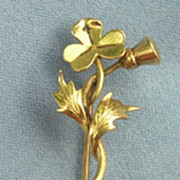 15 ct Stick Pin, Thistle and Shamrock, Victorian