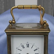 Brass Carriage Clock, Chiming, Victorian. French