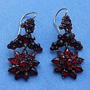 Bohemian Garnet Earrings, Flower Design, Victorian