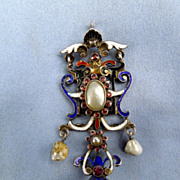 Silver (Sterling) Enameled, Austro-Hungarian Pendant, Victorian