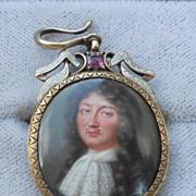 Portrait Miniature, Enamel, Petitot, in Pendant Frame, of Louis XIV, Georgian Frame,