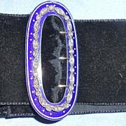 Blue Enamel and Rose Cut Diamond Buckle, Choker