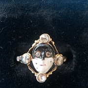 Harlequin or Masque Ring, Early Victorian, Enamel and Diamonds