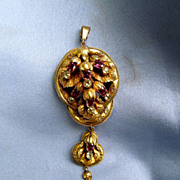 Victorian Pendant, Almandine Garnet, Chrysoberyl, diamond, 9 ct