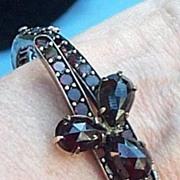 Bohemian Garnet Bangle Bracelet, Victorian