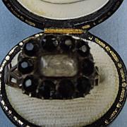 Memorial Ring, Black Garnets, Georgian