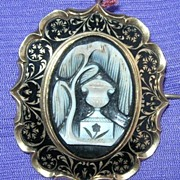 Mourning Cameo, Brooch/Pendant, Black Enamel