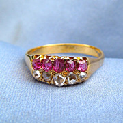 18 Ct Ruby and Diamond Band, Late Victorian