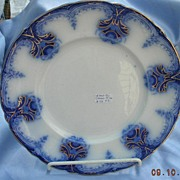 REDUCED 10 Inch Flow Blue, Plate,Wood and Sons, Clarence, Victorian
