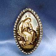Mourning Jewelry, Sepia Miniature , Brooch, Paste Surround, Dog