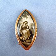 Mourning Jewelry, Sepia Miniature Brooch, Dog, Georgian