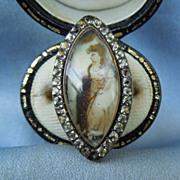 Memorial Jewelry, Mourning Jewelry, Georgian Ring, Sepia Painting , Paste Surround