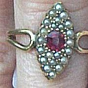 18 ct Ruby and Pearl, Victorian Ring, Marquis Shaped, 1880