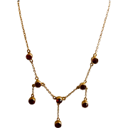 9 ct garnet necklace, Victorian