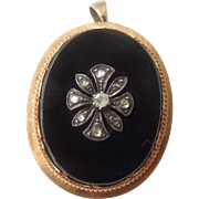 18 carat , onyx and diamond, brooch/pendant, Victorian.