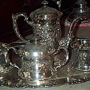 REDUCED Victorian Tea Service, 5 Pieces, Quadruple Plate, Apollo Silver Co