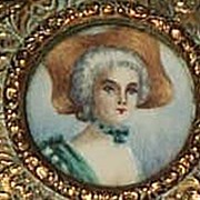 French Brass Box with Portrait Miniature