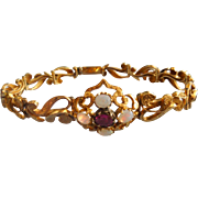 Ruby and Opal Bracelet, 14 ct, Victorian